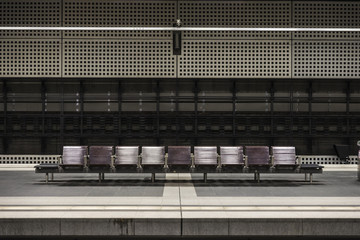 Seats at Berlin Central Station in Berlin, Germany