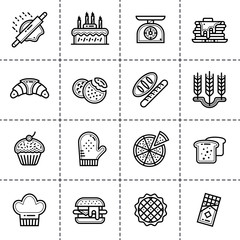 Unique linear icon of bakery, cooking. Suitable for print media, info graphics and web design