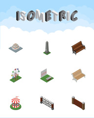 Isometric Urban Set Of Recreation, Seat, Sitting And Other Vector Objects. Also Includes Brick, Monument, Aiming Elements.