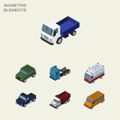 Isometric Transport Set Of Autobus, Armored, First-Aid And Other Vector Objects. Also Includes Motor, Bus, Transport Elements.