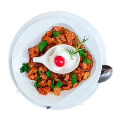 Modern Serbian stew isolated in white background