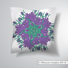 Creative sofa square pillow. Decorative pillowcase design template. Vector illustration.