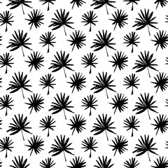 Tropical Palm Brush Seamless Pattern