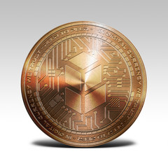copper bancor coin isolated on white background 3d rendering