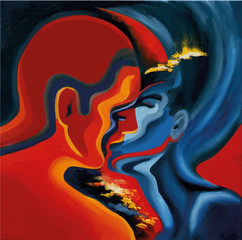 Kiss, abstract blue and red oil painting on canvas, vector traced illustration