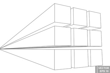 Perspective. Square. Three-dimensional 3D. The outline is isolated on a white background.