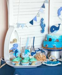 Candy Bar in marine style on children's day birth.