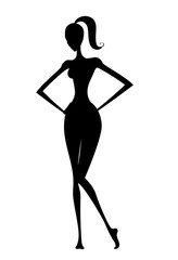 Silhouette of a Woman With Hands on Hips