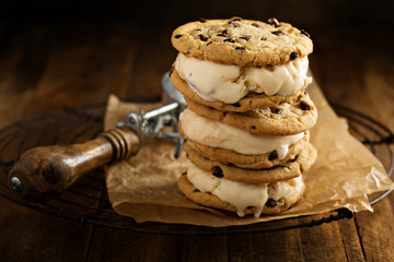 Ice cream sandwiches with chocolate chip cookies