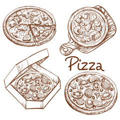 Set of vector illustrations in engraving style, whole pizza and slice, pizza on wooden board, pizza in box for delivery. Prints, templates, design elements for menu, signage, advertisement isolated