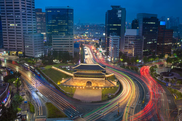 Seoul. Image of Seoul downtown with Sungnyemun Gate during twilight blue hour.