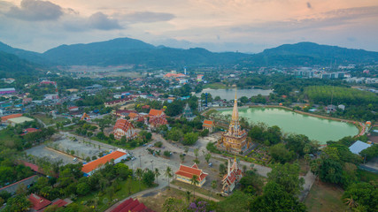 aerial photography above Chalong  temple.