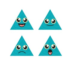 Triangle face expression shape education aqua wood texture