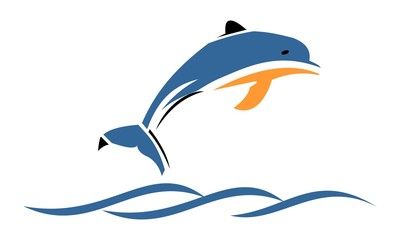 Vector of dolphins jump