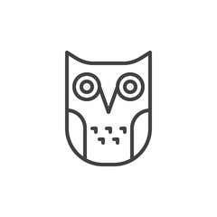 Education owl line icon, outline vector sign, linear style pictogram isolated on white. Wisdom symbol, logo illustration. Editable stroke