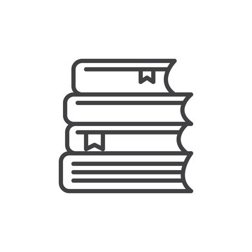 Stack of books line icon, outline vector sign, linear style pictogram isolated on white. Study symbol, logo illustration. Editable stroke