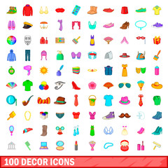 100 decor icons set, cartoon style