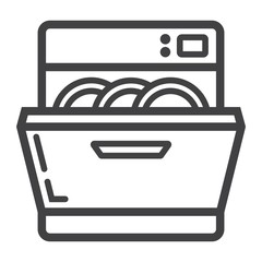 Dishwasher line icon, kitchen and appliance, vector graphics, a linear pattern on a white background, eps 10.