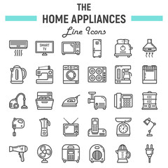 Home appliances line icon set, technology symbols collection, vector sketches, logo illustrations, household linear pictograms package isolated on white background, eps 10.