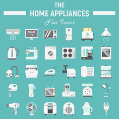 Home appliances flat icon set, technology symbols collection, vector sketches, logo illustrations, household colorful solid pictograms package isolated on white background, eps 10.
