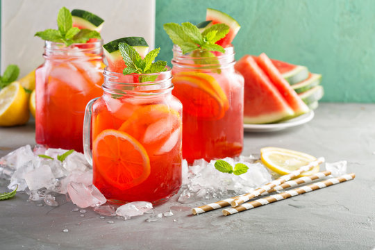 Watermelon lemonade in mason jars