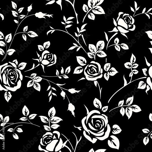 "Vector Flower Black White Background Wallpaper: ""Seamless Pattern With White Rose Silhouette On Black"