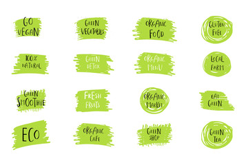 Collection of vector eco, bio green logo or sign. Organic design.