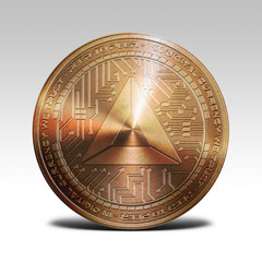 copper basic attention token coin isolated on white background 3d rendering
