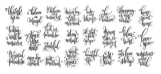 set of 25 black and white hand lettering inscription