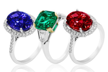 Emerald, sapphire and ruby rings  jewelry with precious gems