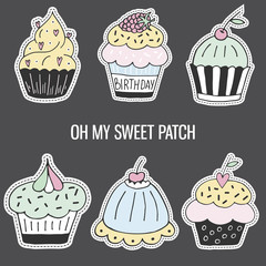 Set of colorful cartoon hand drawn cupcake. Isolated vector illustration in patch style.