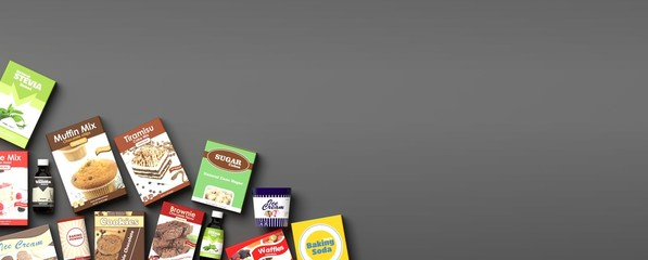 Various sweets products on grey background. 3d illustration