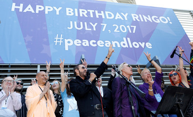 """Musician Starr attends a """"Peace & Love"""" event to celebrate Starr's 77th birthday in Los Angeles"""
