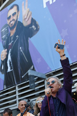 """Musician Walsh speaks at a """"Peace & Love"""" event to celebrate Ringo Starr's 77th birthday in Los Angeles"""