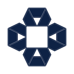 Logo of Blue ribbon cross with white  border