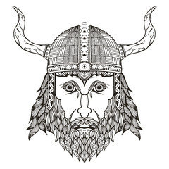 Ancient viking head. Helmet with horns. Zentangle stylized. Vector illustration. Freehand pencil. Hand drawn. Pattern. Isolated.