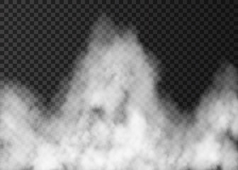 White fire smoke isolated on transparent background.