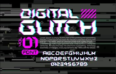 Glitch hi-tech space font lettering on digital glitch background cyberpunk style vector design composition with stereo vision effect