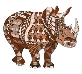 Rhino zentangle stylized, vector, illustration, freehand pencil, doodle, color, pattern, hand drawn.