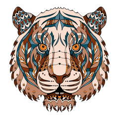Tiger head zentangle stylized, vector, illustration, pattern, freehand pencil, hand drawn. Color.