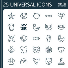 Zoology Icons Set. Collection Of Cobweb, Serpent, Fish And Other Elements. Also Includes Symbols Such As Starfish, Cow, Snake.