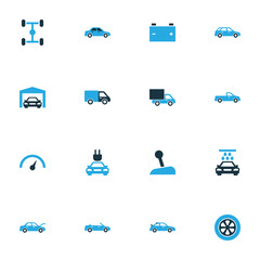Auto Colorful Icons Set. Collection Of Van, Speedometer, Gear Lever And Other Elements. Also Includes Symbols Such As Battery, Automobile, Carriage.