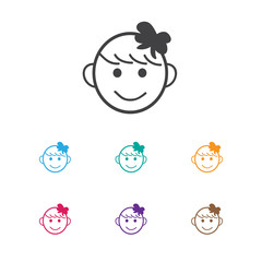 Vector Illustration Of Infant Symbol On Happy Girl Icon. Premium Quality Isolated Cheerful Child  Element In Trendy Flat Style.