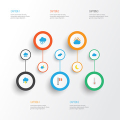 Air Flat Icons Set. Collection Of Drizzles, Overcast, Sunny And Other Elements. Also Includes Symbols Such As Sun, Moon, Drizzles.