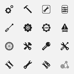 Set Of 16 Editable Repair Icons. Includes Symbols Such As Screwdriver, Settings, Service And More. Can Be Used For Web, Mobile, UI And Infographic Design.
