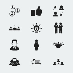 Set Of 12 Editable Job Icons. Includes Symbols Such As Meeting, Publish, Like And More. Can Be Used For Web, Mobile, UI And Infographic Design.