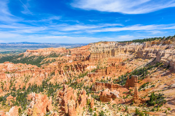 Scenic view of red sandstone hoodoos in Bryce Canyon National Park in Utah, USA - View of Inspiration Point