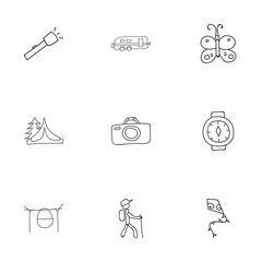 Set Of 9 Editable Trip Icons. Includes Symbols Such As Camper, Campfire Cooking, Camp House And More. Can Be Used For Web, Mobile, UI And Infographic Design.