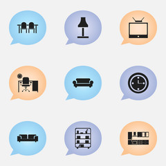Set Of 9 Editable Furnishings Icons. Includes Symbols Such As Cooking Furnishings, Canape, Television And More. Can Be Used For Web, Mobile, UI And Infographic Design.
