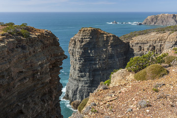 Rocky cliffs at the Atlantic in Southern Portugal